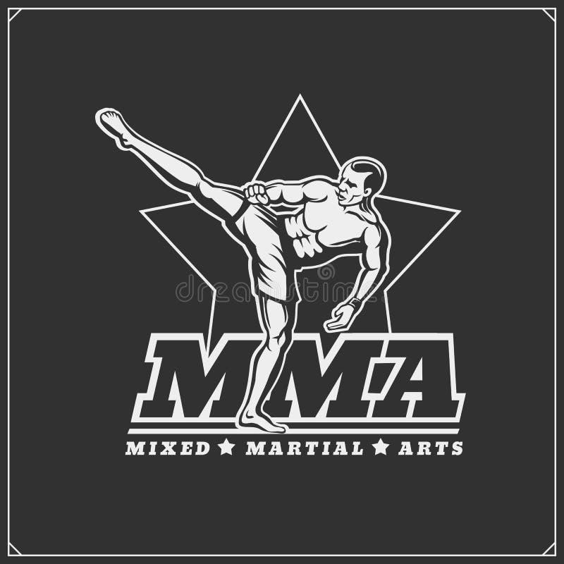 Combatientes de artes mezclados marciales Emblema del club de deporte stock de ilustración