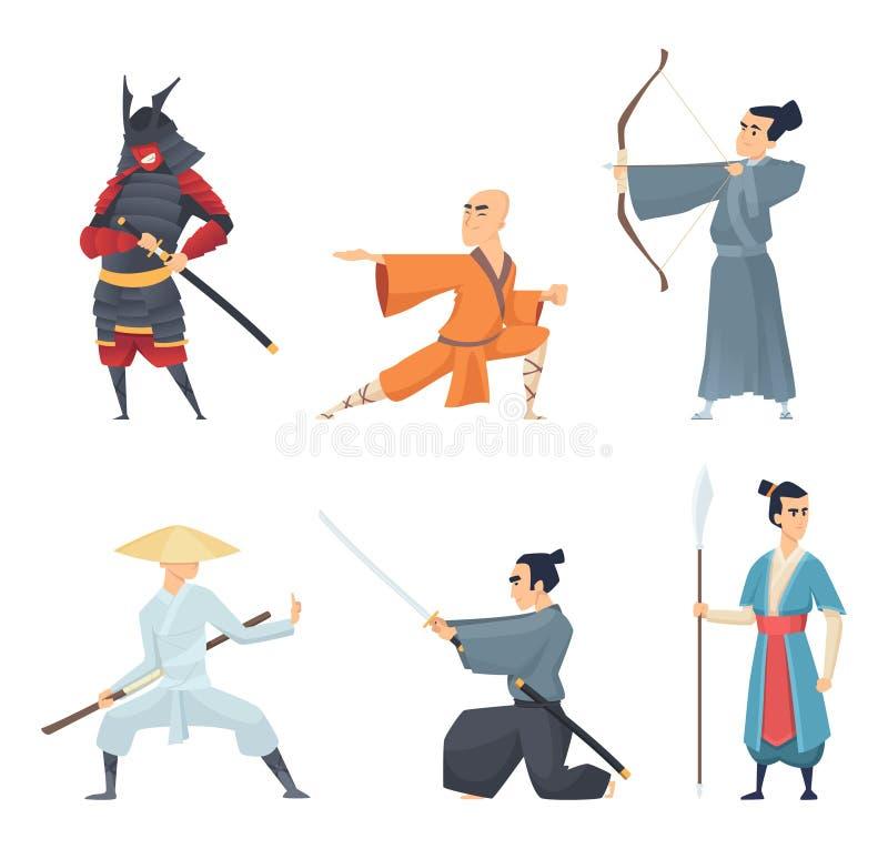 Combatientes de China Personajes de dibujos animados del este tradicionales del vector de la espada del ninja del samurai de Guan libre illustration