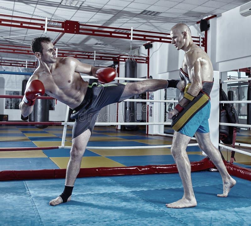 Combatientes de Kickbox que entrenan en el anillo fotos de archivo