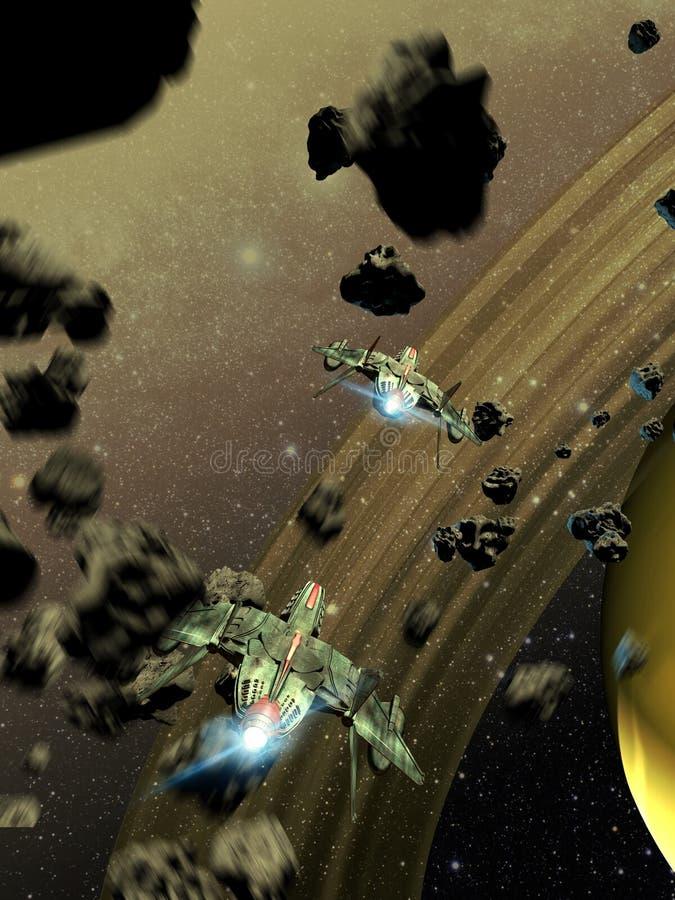 Combatientes del espacio que cruzan una correa de asteroides ilustración del vector