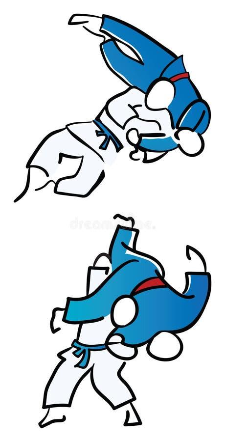 Combatientes del judo ilustración del vector