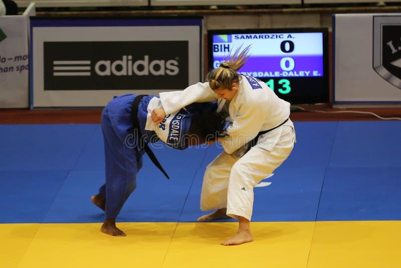 Combatientes femeninos del judo imagen de archivo libre de regalías