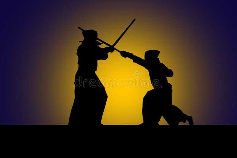 Combatientes japoneses del kendo con las espadas de bambú, alto contraste imagenes de archivo