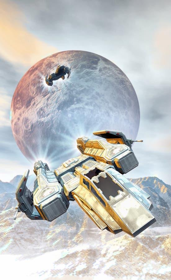 Combatientes y mountainis de la nave espacial stock de ilustración