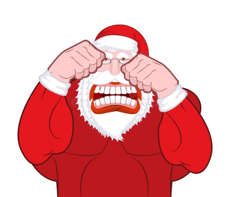 Combats de Santa Claus Le père Christmas bat des poings Knuckl de vieil homme illustration de vecteur