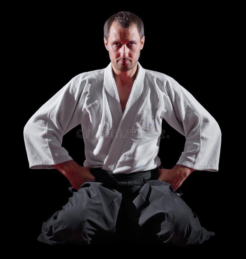 Combattant d'arts martiaux d'isolement images stock