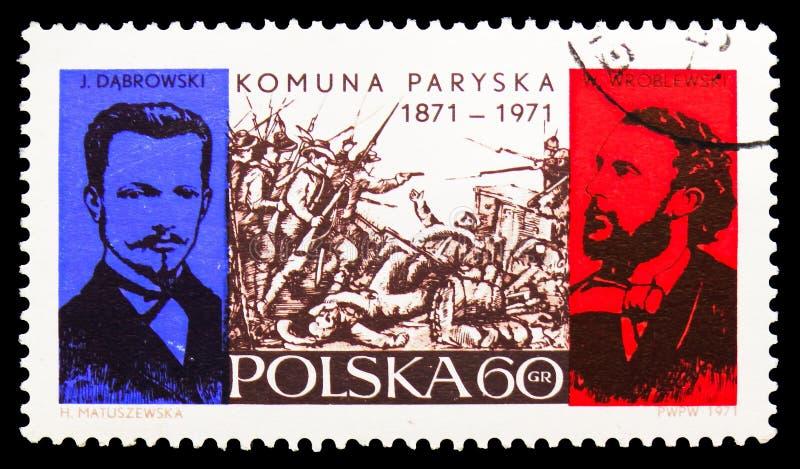Combattant dans Pouilly Casle, Jaroslaw Dabrowski, Walery Wrobleski, centenaire du serie de commune de Paris, vers 1971 illustration de vecteur