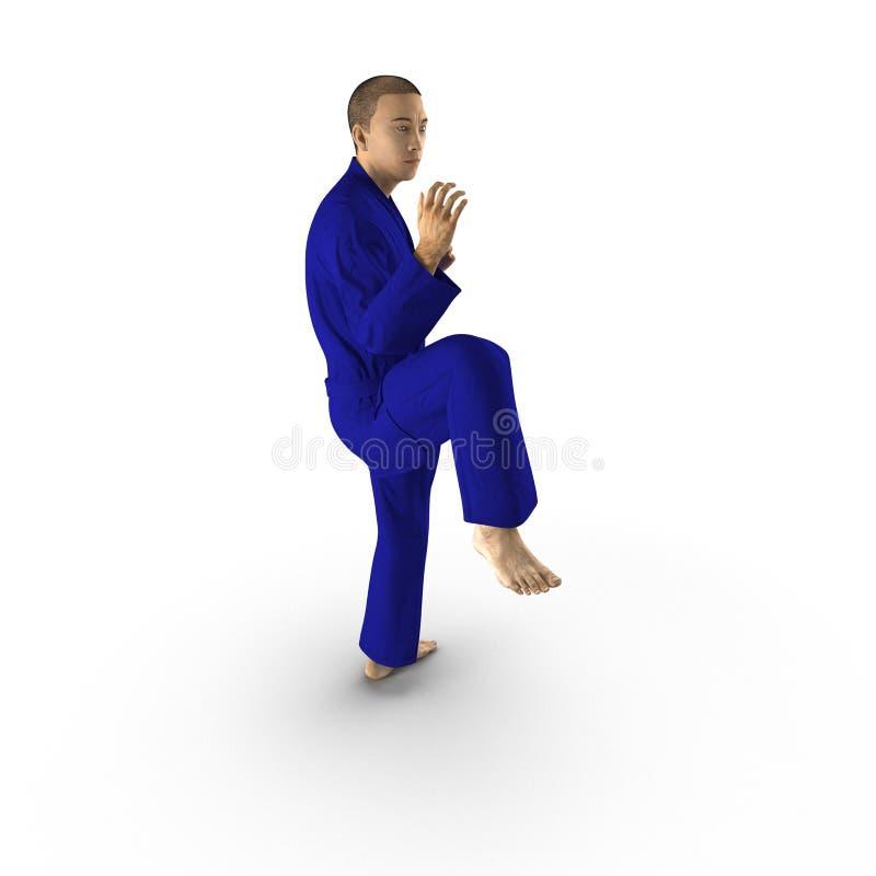 Combattant de karaté dans le kimono bleu d'isolement sur le blanc illustration 3D illustration de vecteur