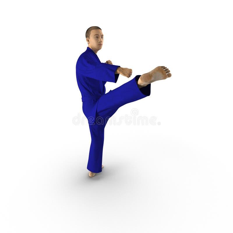 Combattant de karaté dans le kimono bleu d'isolement sur le blanc illustration 3D illustration stock