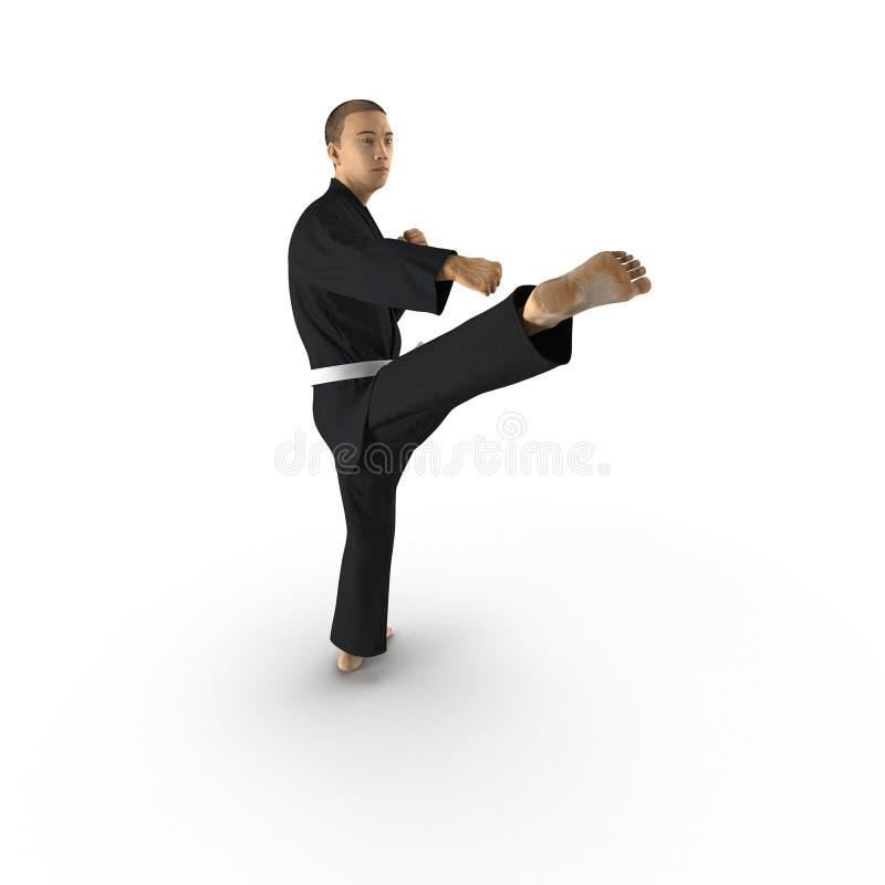 Combattant de karaté dans le kimono noir d'isolement sur le blanc illustration 3D illustration libre de droits