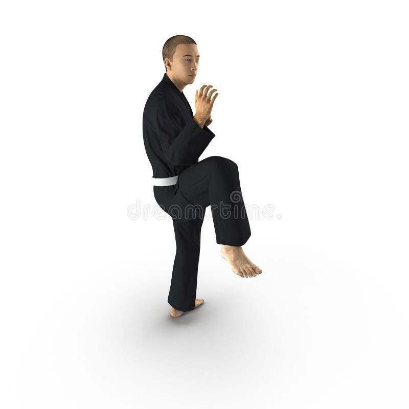 Combattant de karaté dans le kimono noir d'isolement sur le blanc illustration 3D illustration de vecteur