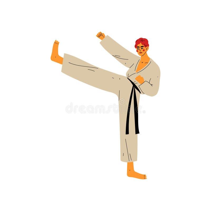 Combattant de karaté faisant le coup-de-pied puissant, athlète masculin Character dans le kimono combattant, mode de vie sain act illustration de vecteur
