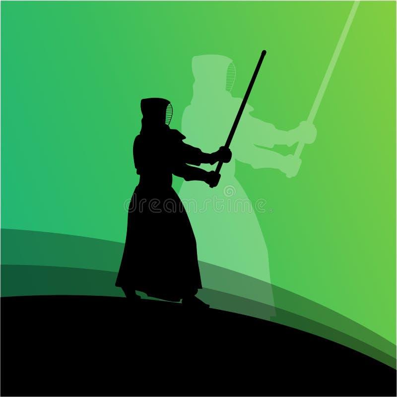 Combattant de Kendo en silhouette traditionnelle de vêtements illustration de vecteur