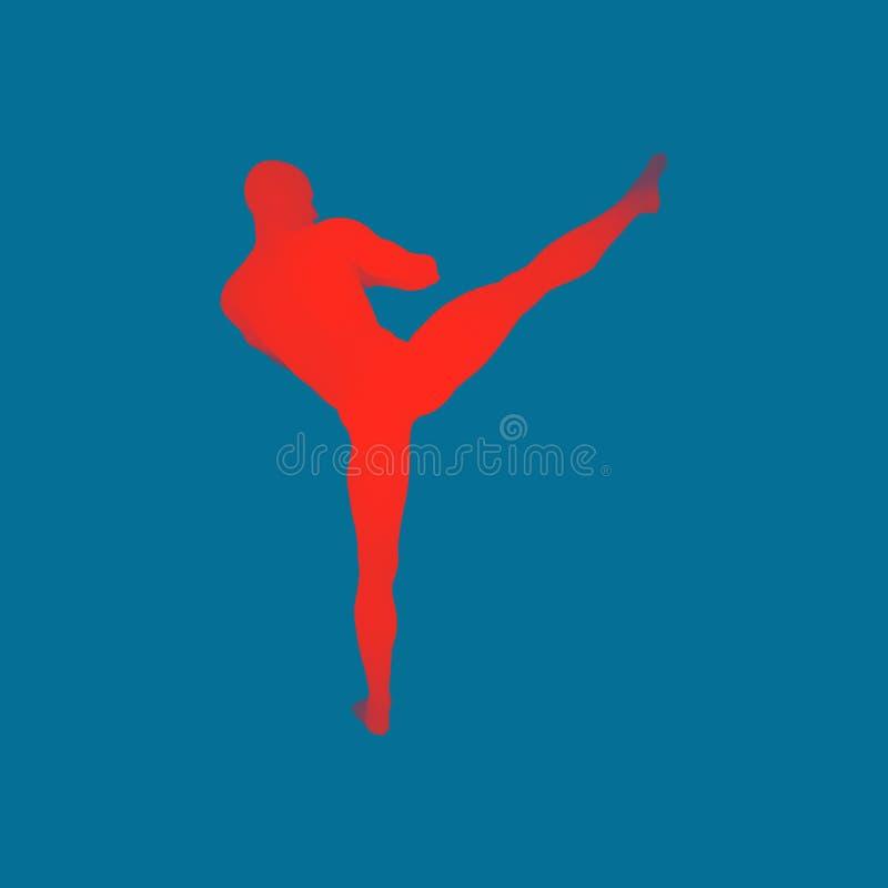 Combattant de Kickbox préparant pour exécuter un coup-de-pied élevé Concept de forme physique, de sport, de formation et d'arts m illustration stock