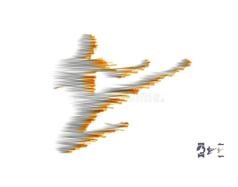 Combattant de Kickbox préparant pour exécuter un coup-de-pied élevé Silhouette d'un homme de combat Calibre de conception pour le illustration stock