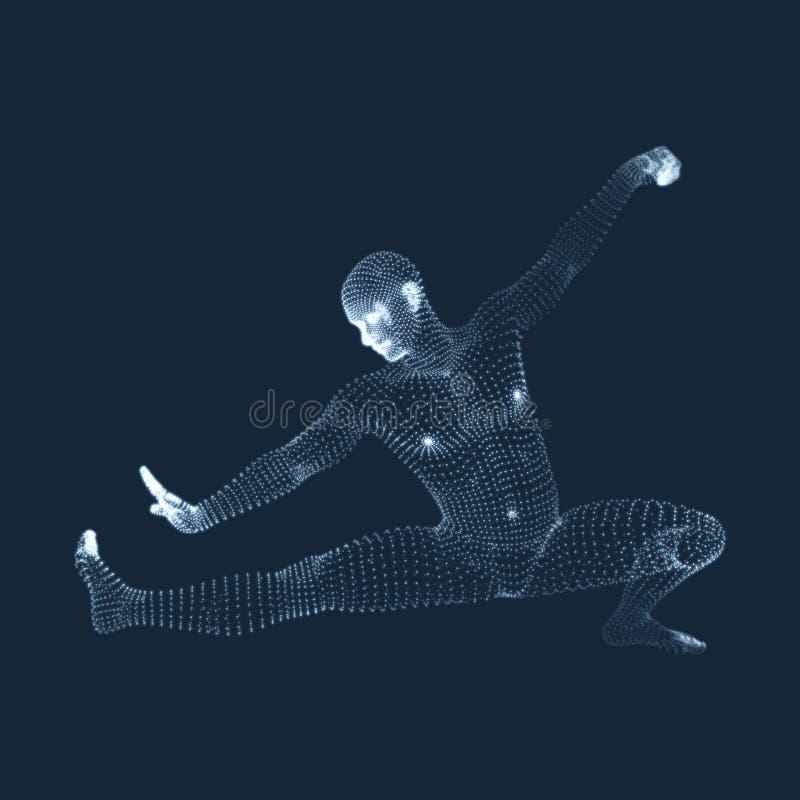 Combattant de Kickbox pr?parant pour ex?cuter un coup-de-pied ?lev? Concept de forme physique, de sport, de formation et d'arts m illustration stock