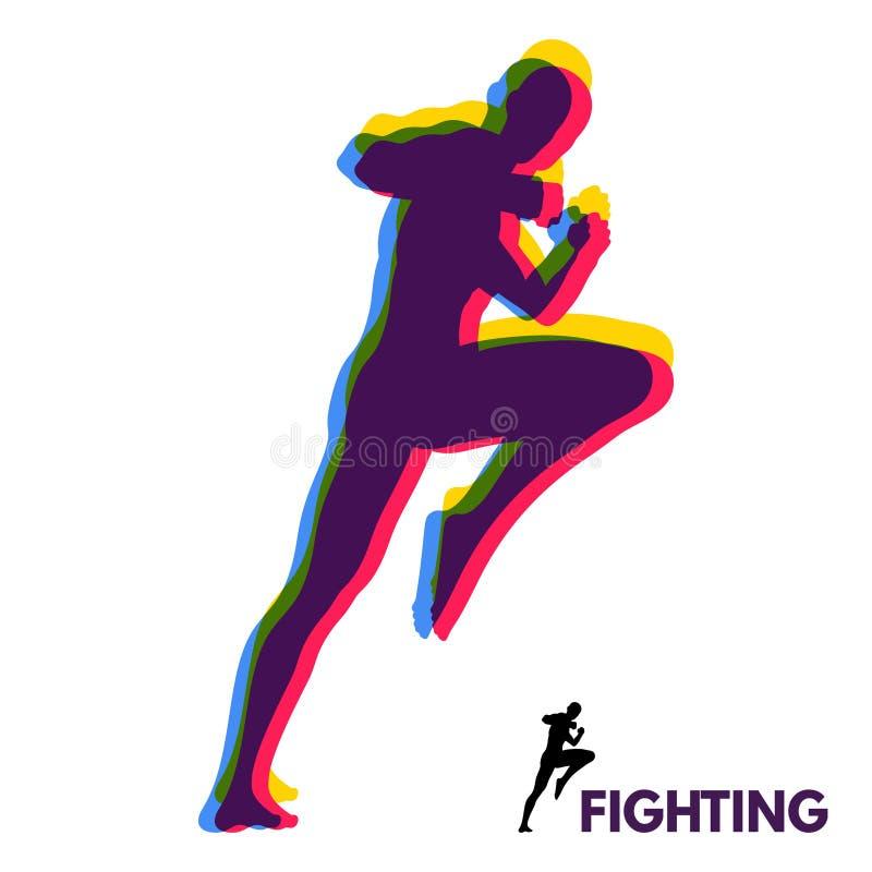 Combattant de Kickbox pr?parant pour ex?cuter un coup-de-pied ?lev? Silhouette d'un homme de combat Calibre de conception pour le illustration de vecteur