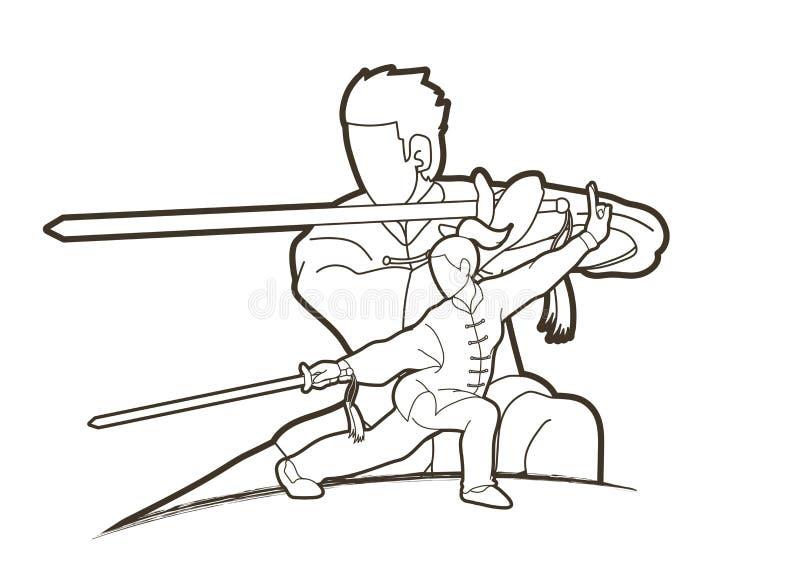 Combattant de Kung Fu d'homme et de femme, arts martiaux avec le graphique de bande dessinée d'action d'armes illustration libre de droits