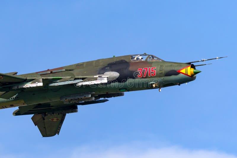 Combattant de Sily Powietrzne Sukhoi Su-22M4 Sukhoi Su-17 de l'Armée de l'Air/avions d'attaque polonais photo stock