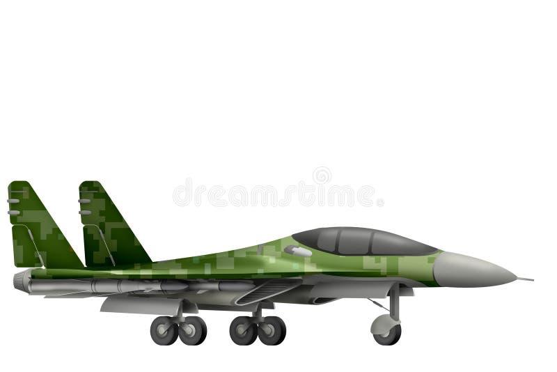 Combattant, intercepteur avec le camouflage de forêt de pixel avec la conception fictive - objet d'isolement sur le fond blanc il illustration de vecteur