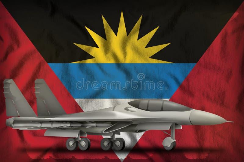 Combattant, intercepteur sur le fond de drapeau d'état de l'Antigua-et-Barbuda illustration 3D illustration stock