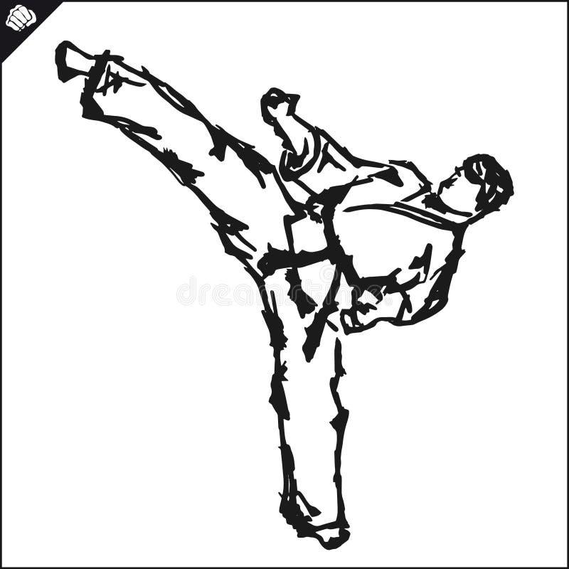 Combattant martial d'art-KARATÉ dans le dogi, kimono illustration de vecteur