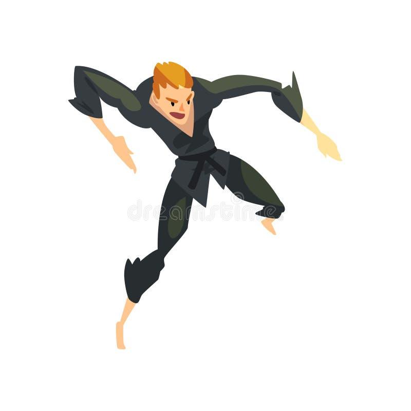 Combattant masculin de karaté dans le kimono, caractère de sportif, illustration active de vecteur de mode de vie de sport sur un illustration libre de droits