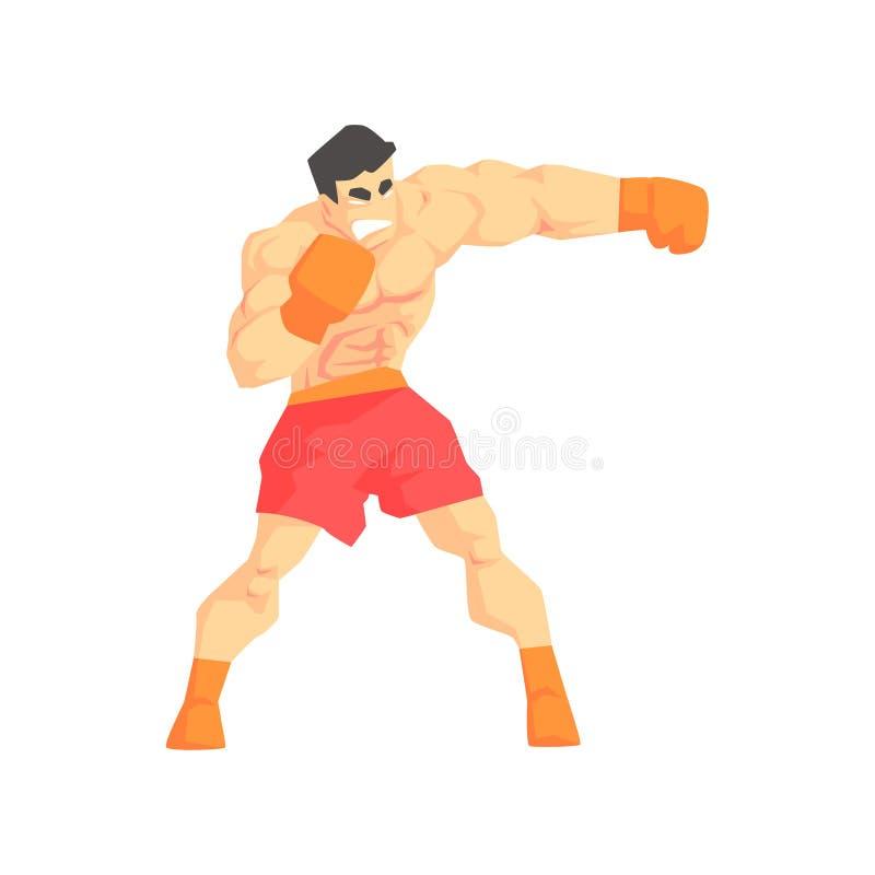 Combattant musclé d'arts martiaux de boxe d'homme, sports de combat professionnels dans l'habillement folâtre de combat tradition illustration de vecteur