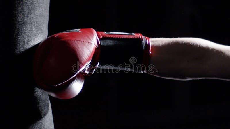 Combattant pratiquant quelques éruptions avec le sac de sable - un homme avec une boxe de tatouage sur le fond foncé Coup-de-pied image stock