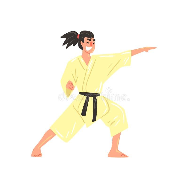 Combattant professionnel de karaté dans le kimono donnant un coup de pied avec le personnage de dessin animé frais de ceinture no illustration de vecteur