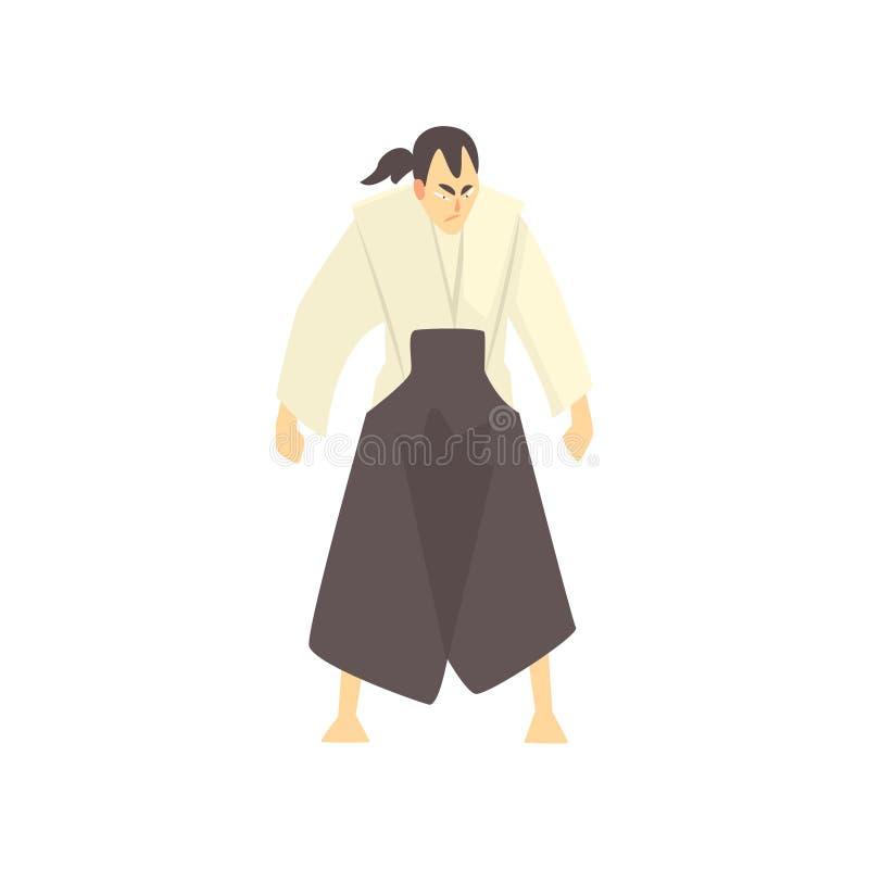 Combattant samouraï japonais d'arts martiaux, sports de combat professionnels dans l'habillement folâtre de combat traditionnel illustration de vecteur