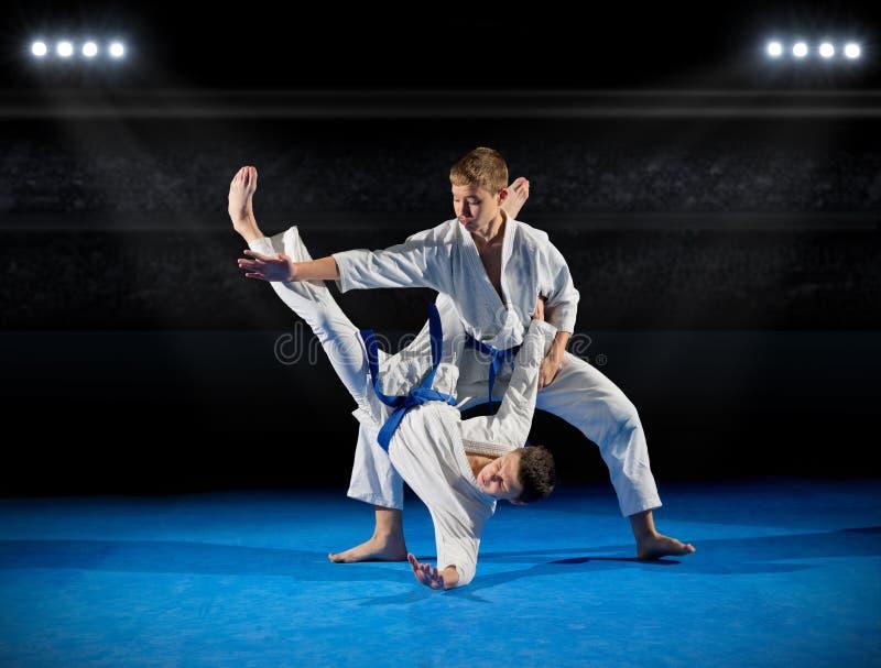 Combattants d'arts martiaux de garçons image stock