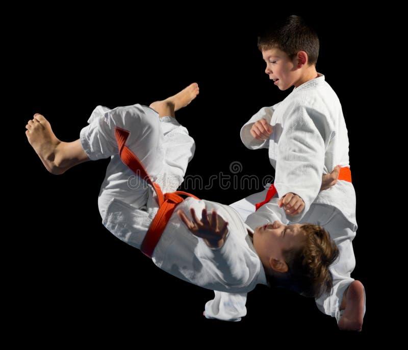 Combattants d'arts martiaux de petits garçons photo libre de droits