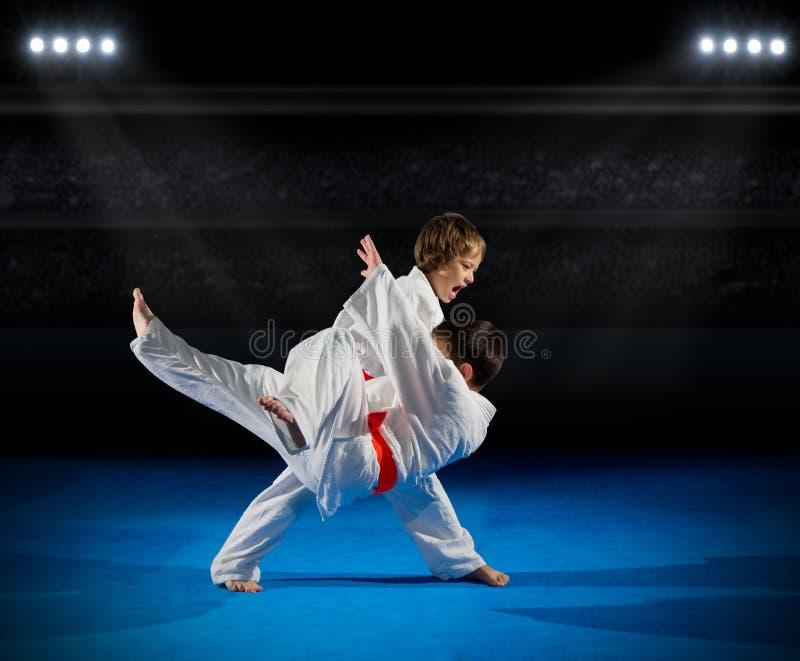 Combattants d'arts martiaux de petits garçons photographie stock
