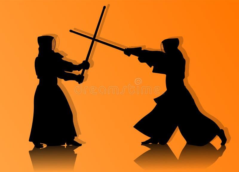 Combattants de Kendo en silhouette traditionnelle de vêtements illustration libre de droits
