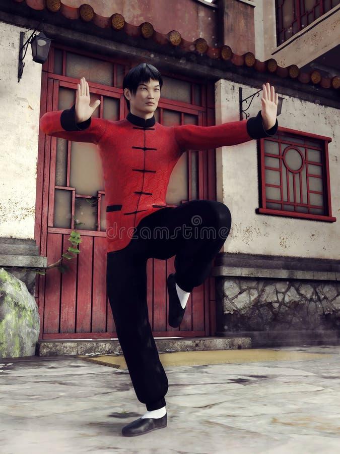 Combattente cinese in vestiti neri e rossi illustrazione vettoriale