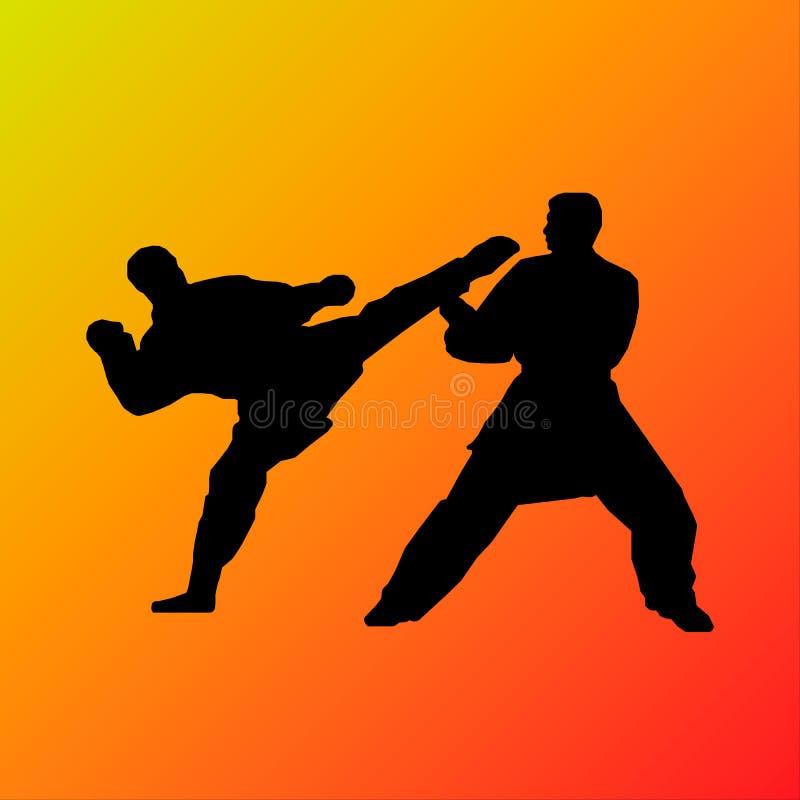 Combattente di karatè che dà dei calci alla siluetta illustrazione di stock