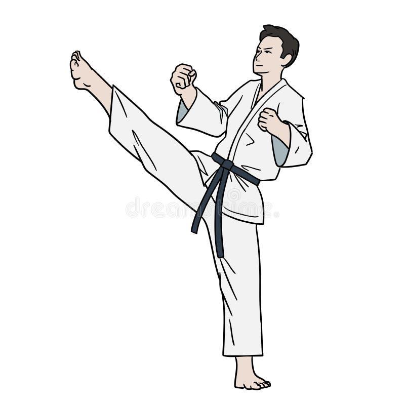 Combattente di karatè isolato illustrazione di stock