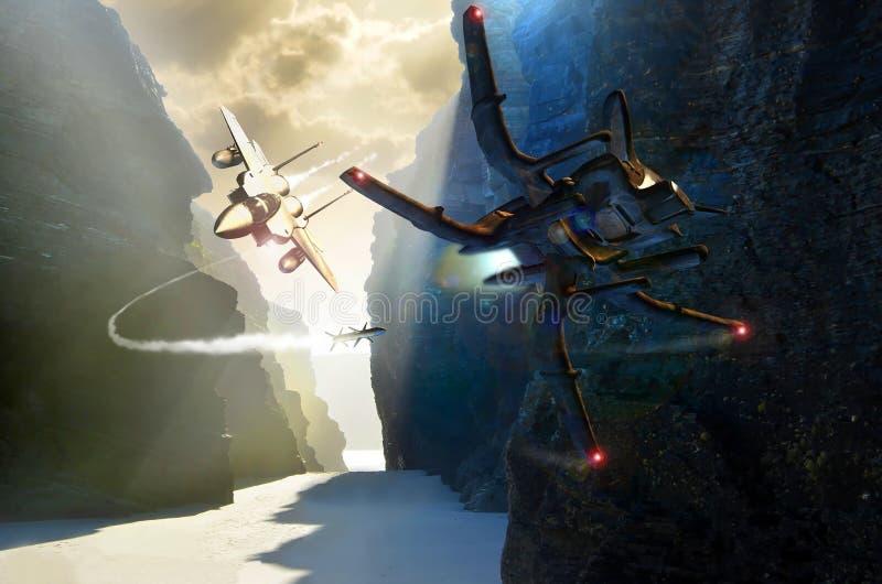 Combattente e combattimento del UFO illustrazione vettoriale
