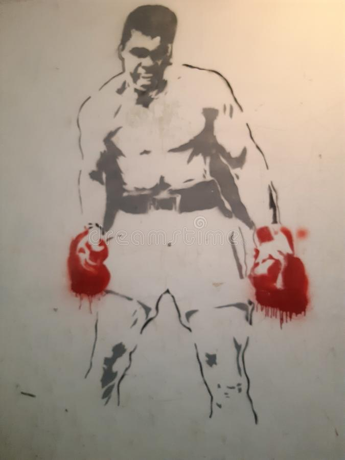Combattente famoso sulla parete immagine stock libera da diritti