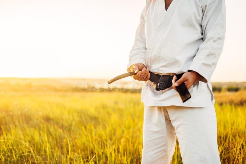 Combattente maschio di karatè in kimono con la cintura nera fotografia stock