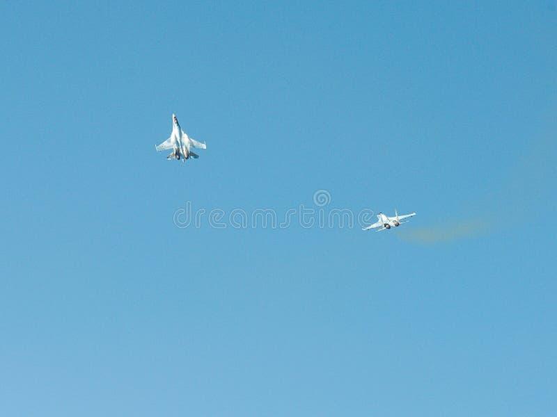 Combattente piano russo Su-35 Flanker-e fotografia stock libera da diritti