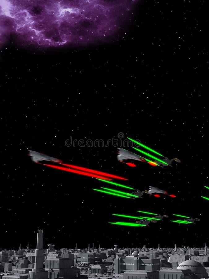 Combattenti dello spazio in un duello illustrazione vettoriale