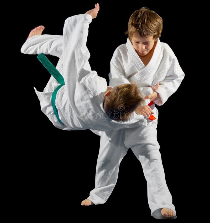 Combattenti di arti marziali dei ragazzi fotografia stock libera da diritti