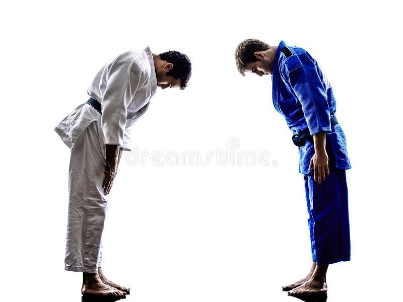 Combattenti di Judokas che combattono la siluetta degli uomini fotografie stock