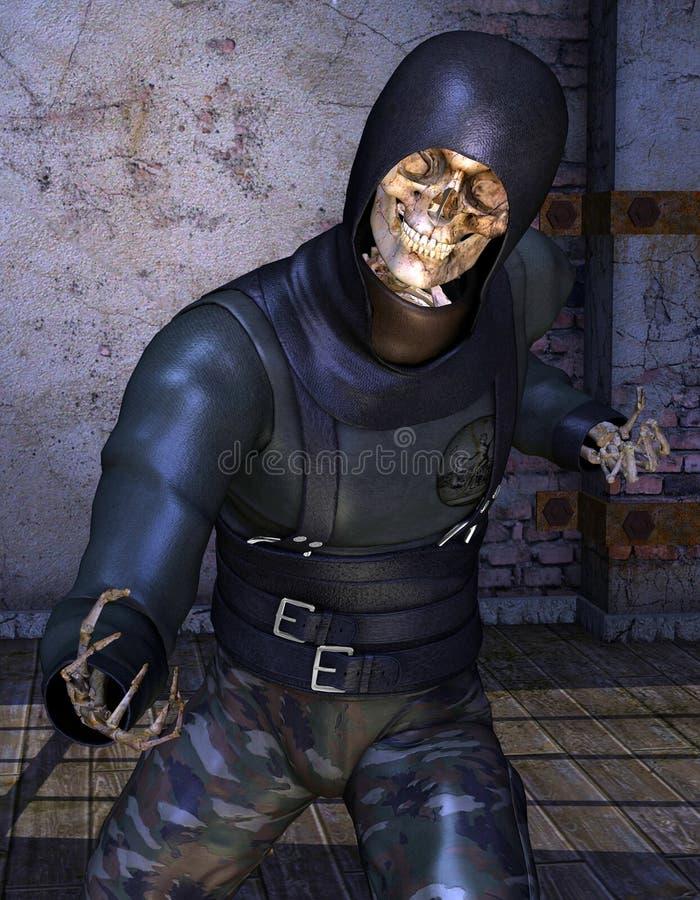 Combattenti di scheletro di Ninja illustrazione di stock