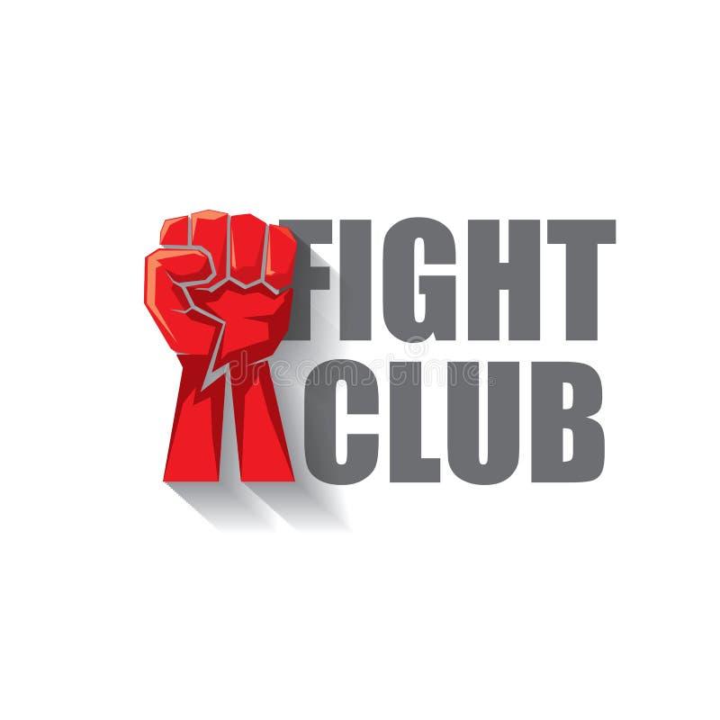 Combattez le logo de vecteur de club avec le poing d'homme rouge d'isolement sur le fond blanc Calibre de conception d'arts marti illustration de vecteur