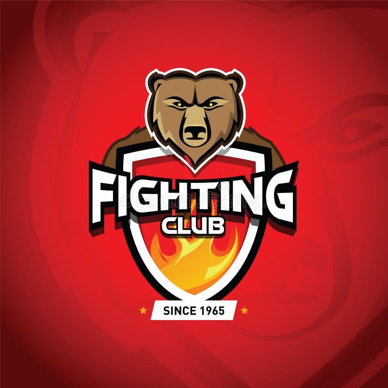 Combattez les arts martiaux mélangés par UFC de Muttahida Majlis-e-Amal de club combattant le calibre de logo Logotype de combat  illustration de vecteur