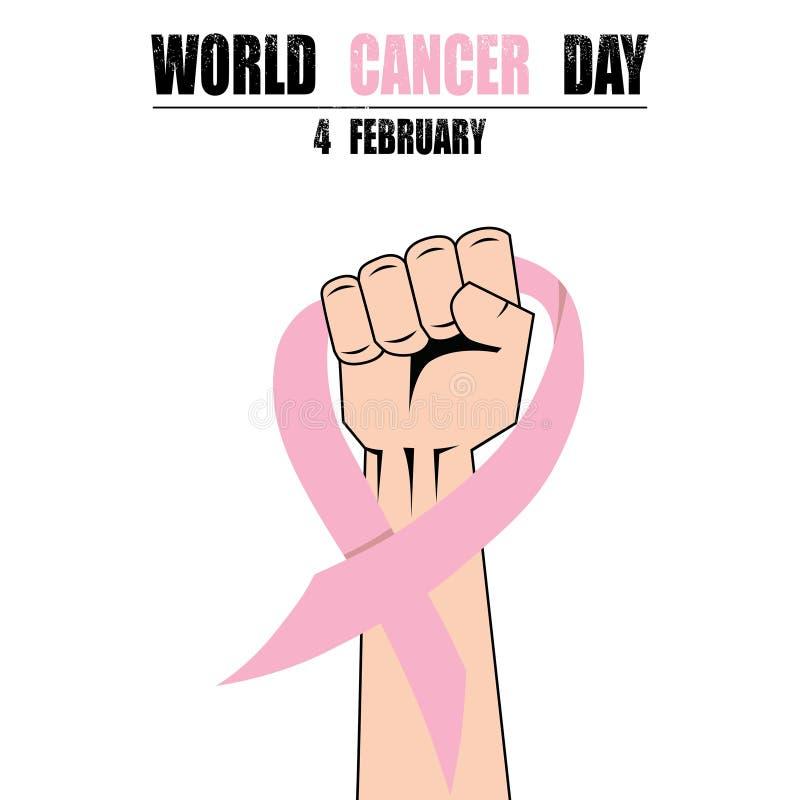 Combatti il pugno della mano contro cancro, il nastro rosa, vettore di simbolo di consapevolezza del cancro al seno illustrazione di stock