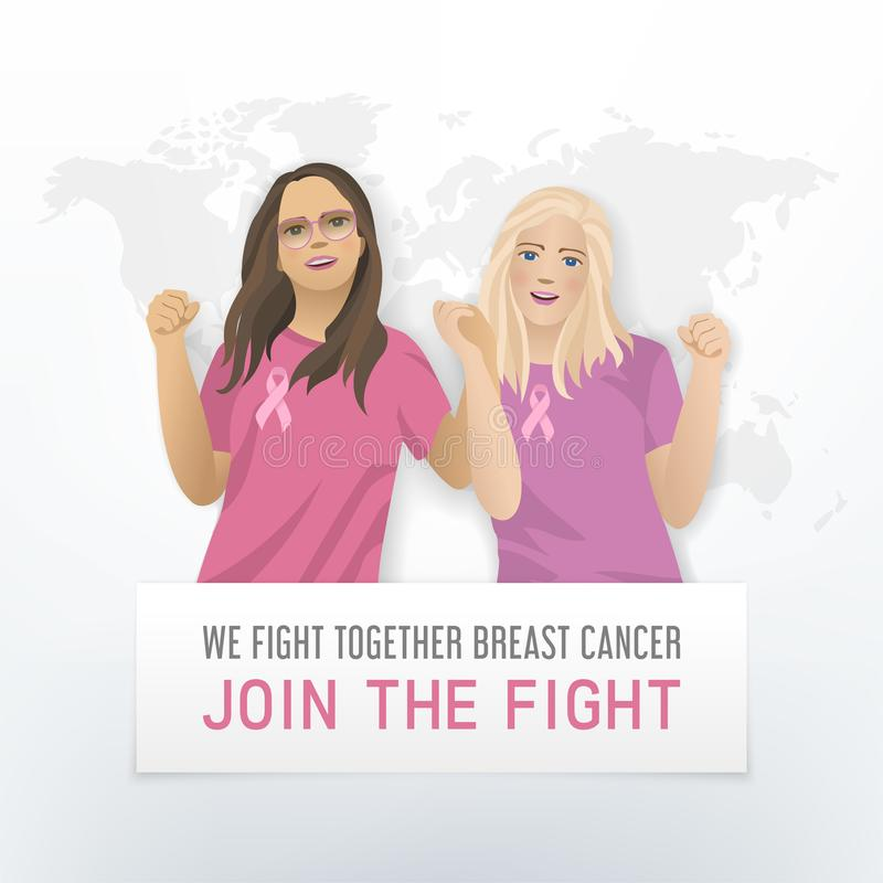 Combattiamo insieme il manifesto del cancro al seno royalty illustrazione gratis